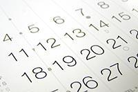 image of calendar numbers