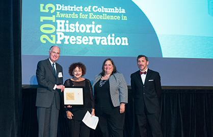 SHPO David Maloney (left), Gretchen Pfaehler, HPRB Chair (center right), and John Sandor, President of the DC Preservaiton League, presented the Individual Lifetime Achievement Award to Sally Lichtenstein Berk