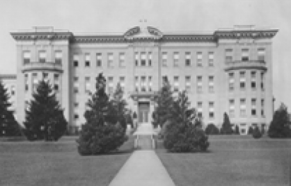 Grayscale image of a school