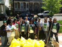 Volunteers in Anacostia collecting trash