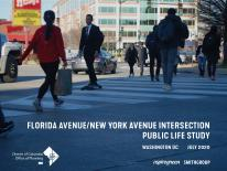 Cover page of Florida Avenue and New York Avenue Intersection Public Life Study showing people crossing Florida Avenue