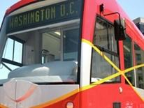 Photo of frontal view of a new DC Streetcar
